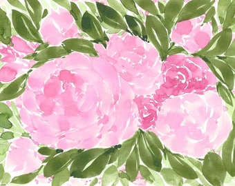 Pink Floral Abstract Original WATERCOLOR Painting