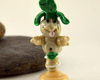 MANDRAKE,  whimiscal focal glass lampwork bead, collectible dog bead, Izzybeads SRA