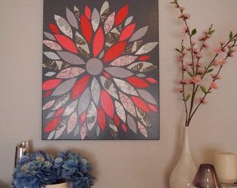 Flower Color Burst- Contemporary Wall Art- Coral/Greys/White/Pinks- Customizable Colors