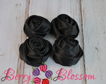 "Black Satin Rosette - 2"" inch size - satin rose flowers - rolled soft rosette - Set of 4 or 8 pieces"