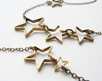 Star statement necklace, open star silhouette long layered necklace gift for her gift for aunt
