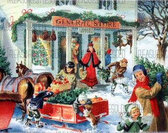General Store Bringing Home The Tree Christmas Scene Christmas Card #546 Digital Download