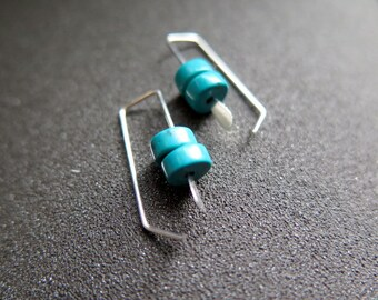 small turquoise earrings. turquoise jewellery. made in Canada
