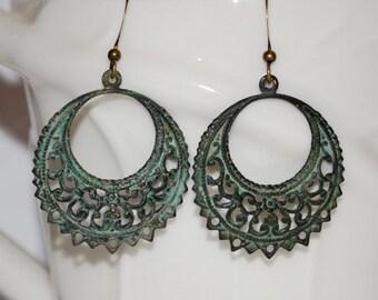 Verdigris Gypsy. Verdigris filigree earrings, filigree earrings, green earrings, green patina earrings