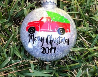 vintage red truck ornaments // farmhouse ornaments //  Personalized ornament // glitter ornament