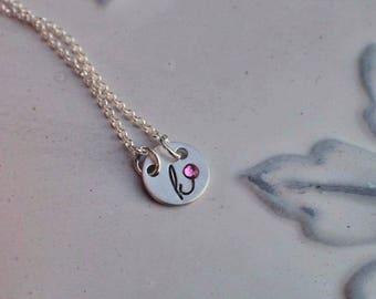 Mom Birthstone Necklace - Initial Birthstone Necklace - Custom Birthstone Necklace - Mother's Necklace - Birthstone Jewelry for Mom