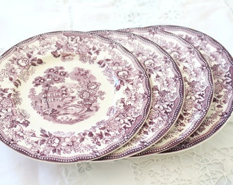 PLATES, Dessert Plates by Royal Staffordshire, Set of 4, Dinnerware by Clarice Cliff, Tonquin Pattern, Purple and Cream Wall Decor