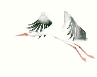 Flying Stork Fine Art print from my Original Watercolor Painting