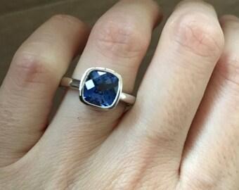Blue Sapphire Engagement Ring- Cushion Sapphire Promise Ring- September Birthstone Ring- Blue Gemstone Alternative Ring- Square Promise Ring