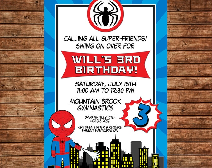 Boy Invitation Superhero Super Hero Spider Birthday Party - Can personalize colors /wording - Printable File or Printed Cards