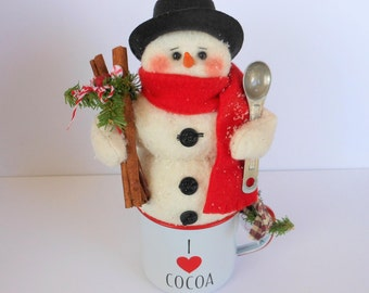 Snowman, Snowman Doll, Snowman Decor, Hot Cocoa Mug, Christmas Decor, Holiday Decor, Snowman in Mug