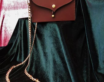 Hand Stitched Leather Box Bag with Chain Strap