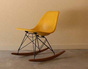 Eames for Herman Miller Fiberglass Small Rocking Side Chair Yellow Light Ochre RSR