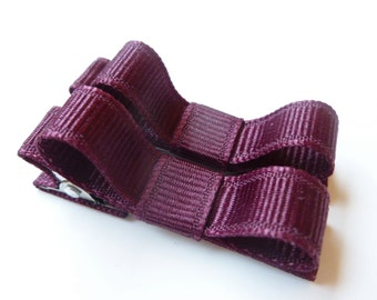 maroon hair bow clips--small toddler and baby hair accessories--perfect christmas holiday shower or gift ideas