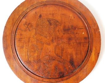 Vintage Carved Wood Wall Plaque Dutch Girl
