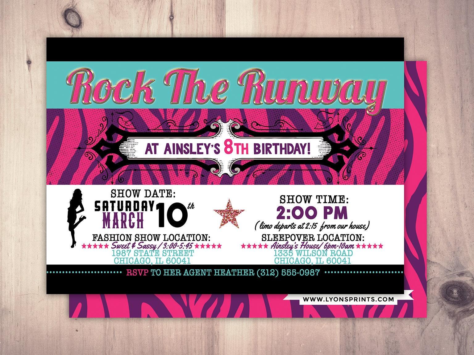 Rock the Runway, Limo, sleepover birthday party invitation- popstar ...