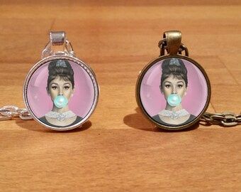 Audrey Hepburn, Audrey Hepburn necklace, Hollywood star, Silver Plated necklace, Antique Bronze necklace (78)