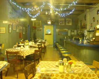 Chicago Photography, Andersonville photo, Svea, Swedish diner, vintage restaurant, Chicago Art, blue string lights - VINTAGE DINER at NIGHT