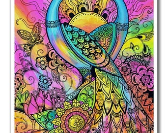 Signed 8 x 10 Print Peacock Fantasy landscape Psychedelic Surreal Pink Purple B. K . Lusk