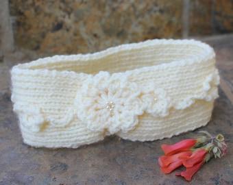 Off white Hippie head-band , Ear warmer , Knit ear warmer , Knit head-band , Hair accessory , Boho headband , Winter headband.