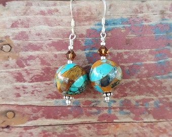 Sea Sediment and Sterling Silver Earrings, Large 12mm Turquoise and Brown Earrings, 12mm Large Round Turquoise and Brown Sea Sediment Drops