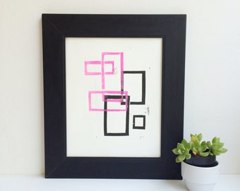 Modern Geometric Linocut Art Pink and Black 8x10