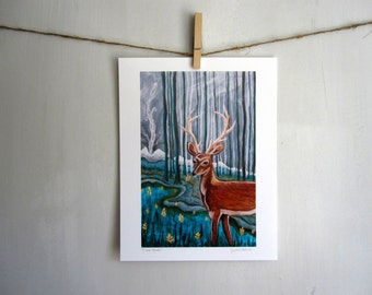 Smoke Signals, deer buck woodland rustic forest antlers, 8.5 x 11 Archival Reproduction Print