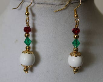Gold Plated Pearl Christmas Earrings