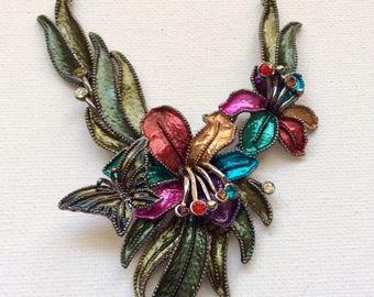 Retro  artsy enameled flower bib necklace