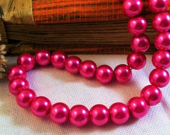 10 round glass Pearl 10 mm fuchsia colored beads