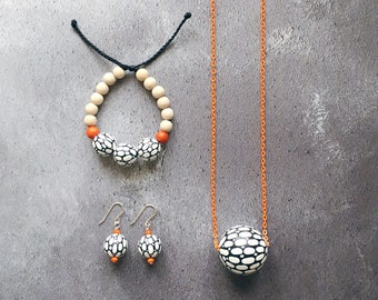 The Funky Monochrome Collection - Necklace, Bracelet and Earrings Set / Hand painted Wooden Bead Necklace Bracelet Earrings Set
