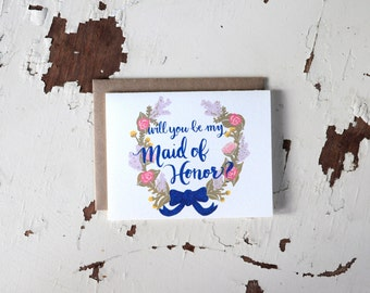 Will You Be My Maid of Honor Card - Floral Wreath