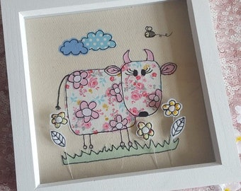 Moo the Cow free motion machine embroidery  Framed Picture