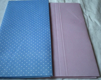 2 COUPONS FABRIC BLUE WHITE POLKA DOTS AND WHITE STRIPES PINK 49X49CM