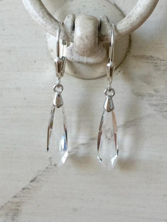 Swarovski Crystal Raindrop Earrings, Sterling Silver