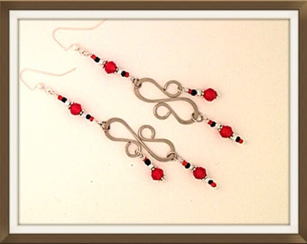 Handmade MWL forged black and red dangle earrings. 0127