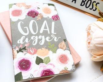 Goal Digger Notebook, Girl Boss Gift, Cute Notebooks, Floral Journal, Goal Digger Quote, Goal Digger Journal, Girl Boss Notebook