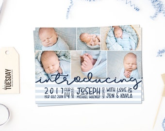 Boy Birth Announcement Card - Printable Birth Announcement Card - New Baby Announcement Card - Photo Birth Announcement Card - Baby Boy