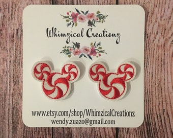 Mouse Candy Cane Swirl Shoe Clips