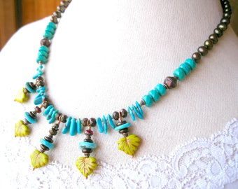 Brown, Lime Green, Turquoise Stone Bead Necklace-Southwest Bib Necklace Featuring Genuine Turquoise and Freshwater Pearls-Cowgirl Jewelry