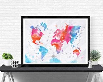 Watercolor World Map Painting Art Print Travel decor