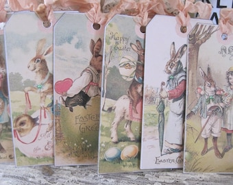assorted vintage-inspired easter bunny tags set of 6