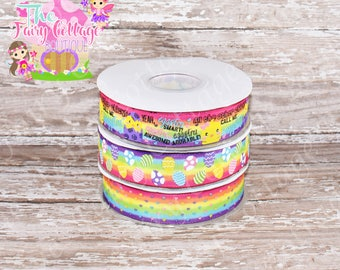 Easter Chicks on Multicolored Bright Rainbow 7/8 inch Ribbon