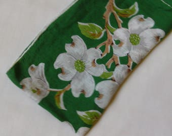 Vintage Green Hanky, Apple Blossoms, Handkerchief, 1950's, Tea Party, Gift for Her