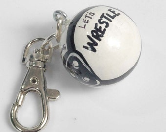 Personalized WRESTLE Charm for Purse -  Backpack -  Key Ring - Zipper Pull