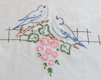 E3 – Vintage Embroidered Doily Placemat Centre Piece Blue Birds of Happiness