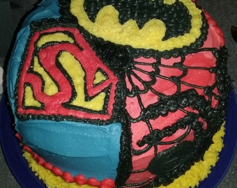Chocolate Cake with Buttercream Frosting and Superhero Decorations