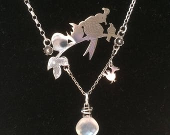 Silver necklace - 'Fledglings' - moonstone - bird charm - one-off