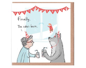 Red Riding Hood and Cake Birthday Card