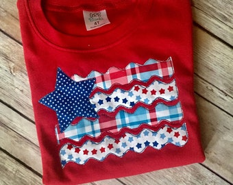 American flag applique T-shirt, boy/girl, Memorial Day, 4th of July